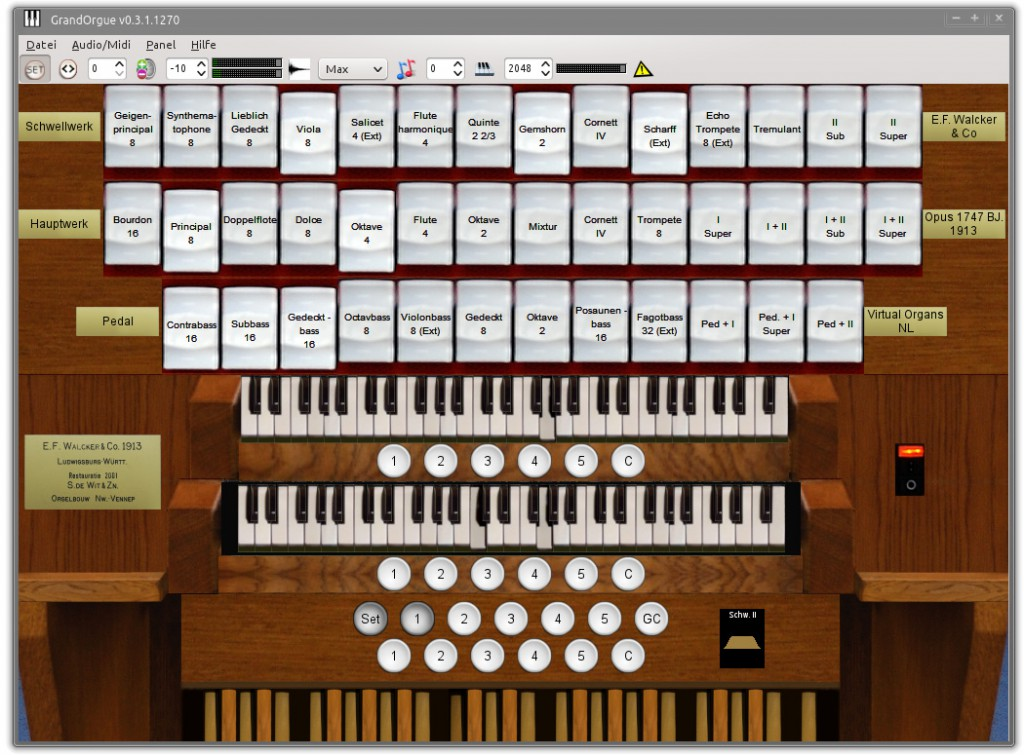 Screenshot of the Walcker Wildervank Sampleset in GrandOrgue